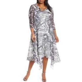 コマロフ レディース ワンピース トップス Komarov Handkerchief Hem Cocktail Dress (Plus Size) Animal Abstract
