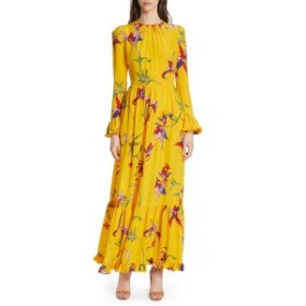ラ・ダブル・ジェイ レディース ワンピース トップス La DoubleJ Summer Visconti Print Maxi Dress Orchidee Giallo