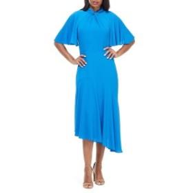 マギーロンドン レディース ワンピース トップス Maggy London Asymmetrical Midi Dress (Regular & Petite) Sea Blue