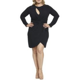 ドレスザポプレーション レディース ワンピース トップス Dress the Population Coby Twisted Faux Wrap Cocktail Dress (Plus Size) (No