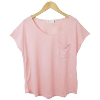 アンドミー and Me K-1/半袖ポケット付きTシャツゆるてろカットソートップス (ピンク)
