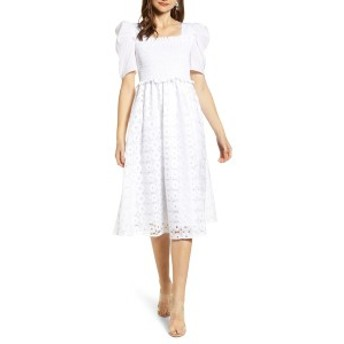 レイチェル・パーセル レディース ワンピース トップス Rachel Parcell Smocked Waist A-Line Dress (Nordstrom Exclusive) White