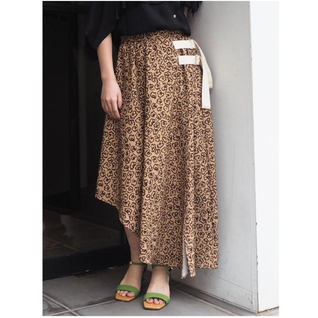 MURUA フラワーレオパードスカート(ブラウン)