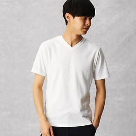 <COMME CA MEN > ゼロステイン VネックTシャツ(0742TL08) シロ 【三越・伊勢丹/公式】