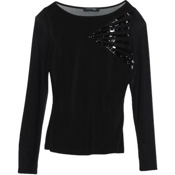 《期間限定セール開催中!》GUESS BY MARCIANO レディース T シャツ ブラック 1 ポリエステル 95% / ポリウレタン 5% / ナイロン