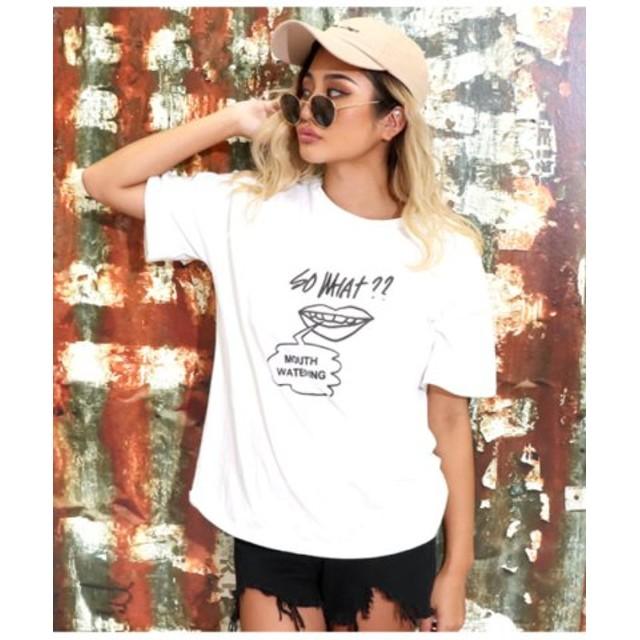 (ANAP/アナップ)バックツイストプリントTシャツ/レディース ホワイト