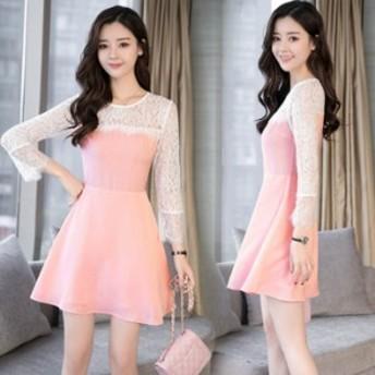 ワンピース 着痩せ レディース レースワンピース 美形ライン 体型カバー お出かけ 姫系 お買い得 可愛いドレス 通勤 ミニドレス ピンク