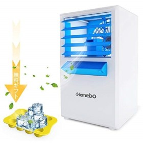 Lemebo卓上扇風機冷風扇扇風機風量3段階小型省エネ上下角度調整可能霧化式加湿機能搭載ミニ強風冷気冷感送風機卓上クーラー(白青)