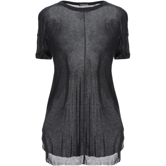《セール開催中》ANN DEMEULEMEESTER レディース T シャツ ブラック 34 レーヨン 70% / コットン 15% / ナイロン 15%
