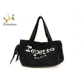 レペット repetto トートバッグ 黒×白 リボン キャンバス   スペシャル特価 20190923