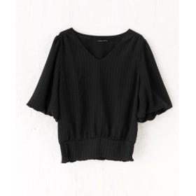 (aquagarage/アクアガレージ)裾シャーリングVネックブラウス/レディース BLACK