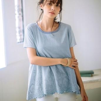 Ranan ラナン 裾スカラップ刺しゅうTシャツ