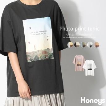 Honeys ハニーズ フォトプリントチュニック レディース