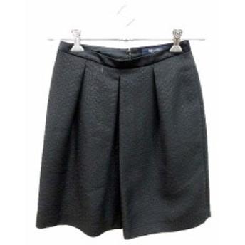 【中古】ブラーミン BRAHMIN スカート フレア ミニ 総柄 36 黒 ブラック /KB レディース