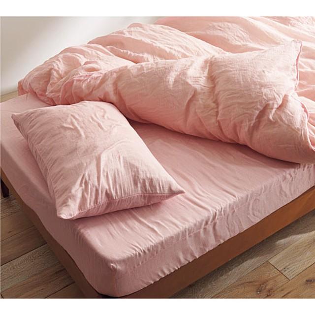 シーツ(ダブルガーゼ) - セシール ■カラー:ピンク オリーブグリーン ネイビー ■サイズ:フィットダブル(145×215cm)