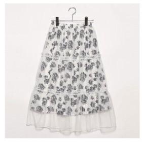 プライベートビーチ privatebeach 花柄×ストライプチュール ティアードスカート (ホワイト×ブラック)