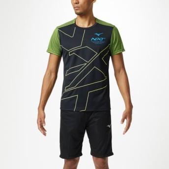 MIZUNO SHOP [ミズノ公式オンラインショップ] N-XT Tシャツ[ユニセックス] 94 ブラック×セーフティイエロー 32JA9210