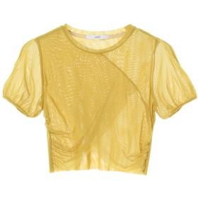 UN3D. シアーショートトップ Tシャツ・カットソー,イエロー