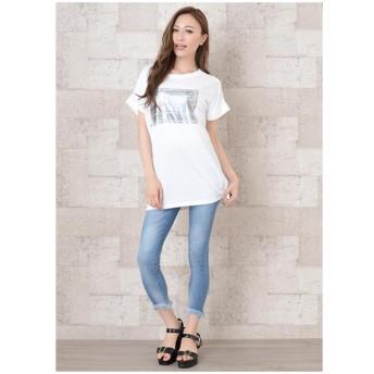 Tシャツ - Janiss 肩ボタンロゴプリント半袖Tシャツ