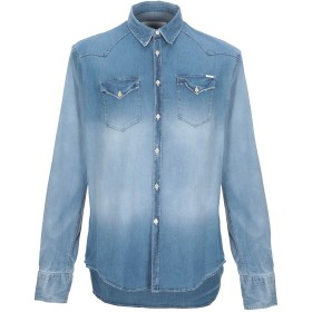 《期間限定 セール開催中》AGLINI メンズ デニムシャツ ブルー 38 コットン 98% / ポリウレタン 2%
