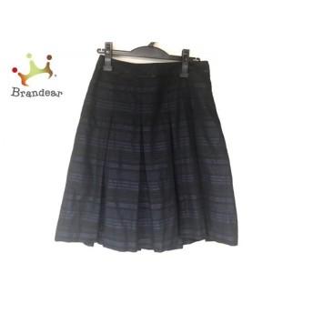 ニジュウサンク 23区 スカート サイズ40 M レディース 黒×パープル ボーダー/ラメ 値下げ 20190916