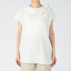 MELROSE CLAIRE(メルローズ クレール)/綿麻ガーゼ衿ぐりフリルブラウス