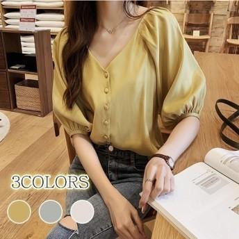 シフォンシャツ 半袖 女性 夏 ブラウス 無地 韓国ファッション 可愛い レディース Vネック