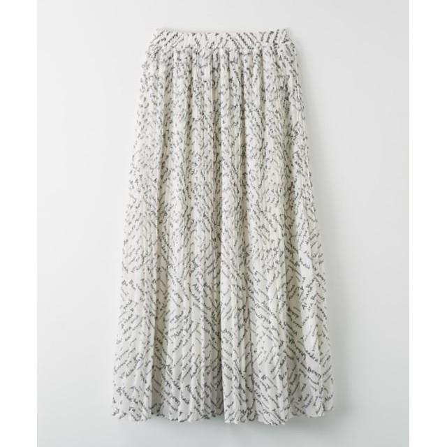 プチロゴプリントがかわいい♪シフォンプリーツロングスカート (ロング丈・マキシ丈スカート)Skirts, 裙子