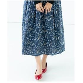 スカート ひざ丈 レディース 綿100% 大人の花柄ふんわり  S/M/L ニッセン