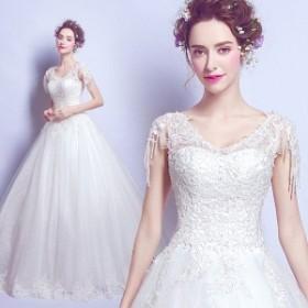 ファンシービーズ 締上げタイプ ウェディングドレス Vネックドレス 大きいサイズ レースドレス ブライダルドレス フォーマルドレス