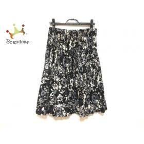 レリアン Leilian スカート サイズ7 S レディース 美品 黒×白×ダークグレー プリーツ/花柄   スペシャル特価 20190919