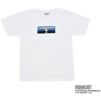 Tシャツ ロゴ グラデーション スヌーピー アストロノーツ ホワイト M