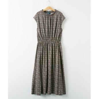 シャーリング衿花柄ワンピース(接触冷感) (ワンピース),dress