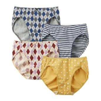 【WEB限定】ガーリープリントレギュラーショーツ4枚組 スタンダードショーツ,Panties