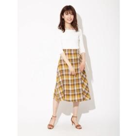 [マルイ]【セール】リネンマドラスチェックボタン付きフレアスカート/ファビュラスアンジェラ(Fabulous Angela)