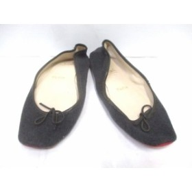 クリスチャンルブタン 靴 確認できず レディース ダークグレー×黒 リボン/ルームシューズ ウール×レザー【中古】