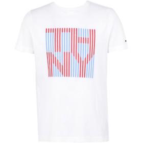 《期間限定セール開催中!》TOMMY HILFIGER メンズ T シャツ ホワイト S オーガニックコットン 100% THNY STRIPE TEE