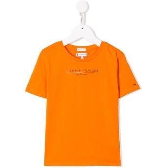 Tommy Hilfiger Junior logo print T-shirt - オレンジ