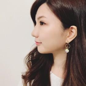 ◆hippie◆Irised Mermaid Scale Pearl & Brass Earrings-WhiteLight