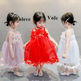 子供服 ワンピース キッズ 女の子 ドレス レース フリル 夏 可愛い かわいい おしゃれ ガーリー 90 100 110 120 130cm ピンク ホワイト