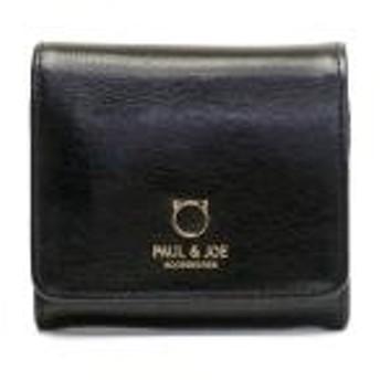 ポール&ジョー アクセソワ 財布 PAUL&JOE ACCESSOIRES ポールアンドジョー 猫 二つ折り財布 本革 スモールキャットフェイス 二つ折り札入れ コンパクト レディース PJA-W062 BLACK