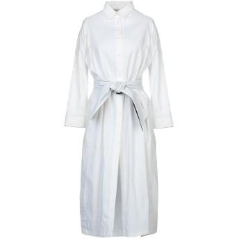 《セール開催中》GENTRYPORTOFINO レディース 7分丈ワンピース・ドレス ホワイト 40 麻 60% / レーヨン 34% / ポリウレタン 4% / ポリエステル 2%