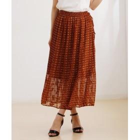 総柄プリーツマキシスカート (ロング丈・マキシ丈スカート),skirt