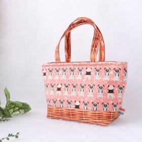 【再販ラスト1点】保冷ランチバッグ│可愛いパグのトートバッグ(ピンク)