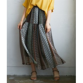 パネル柄切替マキシスカート (ロング丈・マキシ丈スカート),skirt