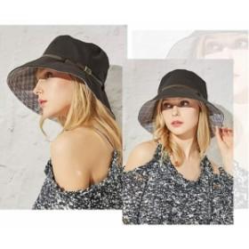 UVカット 帽子 レディース 【紫外線対策 】 ハット つば広 軽薄 吸汗通気 取り外すあご紐 折りたたみ サイズ調節可 おしゃれ 可愛い 女優