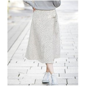 スカート ひざ丈 大きいサイズ レディース ラップ風ドットフレア ゆったり ヒップ  106〜98 ニッセン