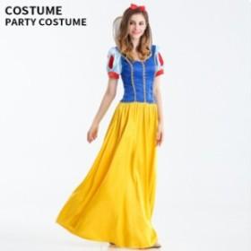 ハロウィン 白雪姫 コスチューム コスプレ 衣装 仮装 ワンピース リボン カチューシャ 送料無料