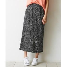カットジョーゼット 前スリットプリントタイトスカート (ロング丈・マキシ丈スカート),skirt