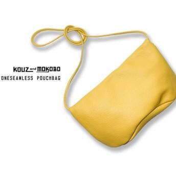 ▲ONE イタリアンレザー:気分上がる↑黄色のポシェット「ワンシームレス ポーチバッグ」…即納(OSP-YY-Y)